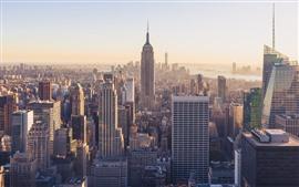 США, Нью-Йорк, Эмпайр-Стейт-Билдинг, небоскребы, город, туман, утро