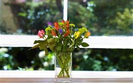 Florero, flores, ventana