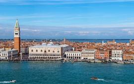 Veneza, itália, palácio, cidade, edifícios, rio, barcos