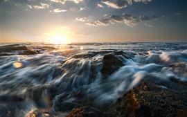 Weizhou Island, mar, fluxo de água, pôr do sol, China