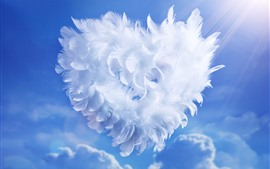 Preview wallpaper White feathers love heart, sky, sunshine