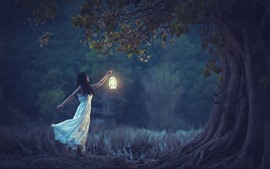 White skirt girl, lamp, trees, night