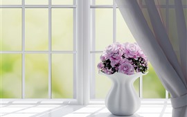 Preview wallpaper Window, pink roses, vase, interior design
