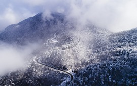 Preview wallpaper Winter, mountains, top view, trees, snow, bend road