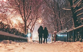Preview wallpaper Winter, night, snow, trees, couple, rear view, lights, city