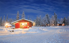 Preview wallpaper Winter, snow, houses, trees, lights