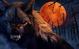 Lobo, dientes, noche, Luna, cuadro del arte