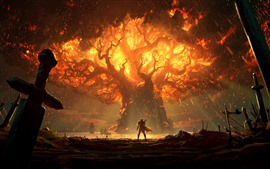 Preview wallpaper World of Warcraft: Battle for Azeroth, flame, tree