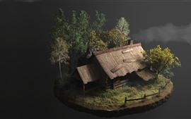 Diseño 3D, cabaña, arboles.