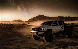 Preview wallpaper 4x4 auto, desert, dust, starry
