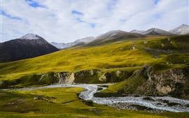 Animaqing Snow Mountain, picos, arroyo, pendiente, nubes, Qinghai, China