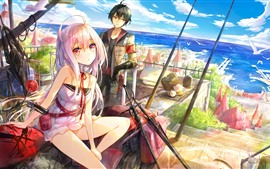 Preview wallpaper Anime girl and boy, city, sea, coast, seagulls