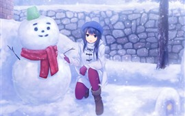 Preview wallpaper Anime girl and snowman, snowy