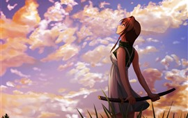 Preview wallpaper Anime girl look at sky, katana, clouds, sunset