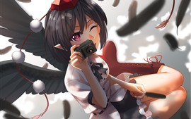 Preview wallpaper Anime girl use camera, wings