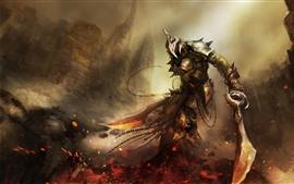 Art picture, warrior, sword, armor