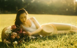 Preview wallpaper Asian girl, under sunshine, lawn, summer, hazy