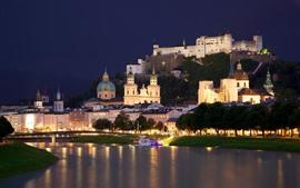 Австрия, Зальцбург, город, река, деревья, замок, ночь, огни