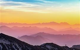 Áustria, montanhas, amanhecer, nuvens, amanhecer