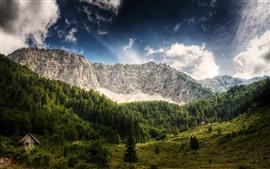 壁紙のプレビュー オーストリア、山、木、小屋