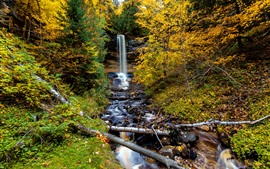 Preview wallpaper Autumn, trees, waterfall, rocks
