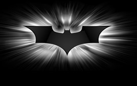 Preview wallpaper Batman logo, black and white picture