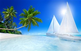 Preview wallpaper Beach, sea, sunshine, sailboats, palm trees, tropical