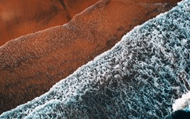 Beach, sea, waves, foam, top view