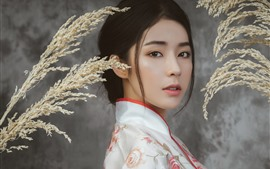 Linda menina chinesa, rosto, penteado, palhetas