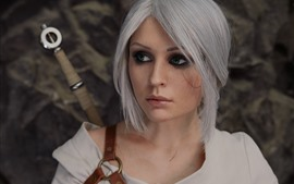 Preview wallpaper Beautiful Cosplay girl, green eyes, The Witcher 3: Wild Hunt