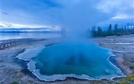Preview wallpaper Beautiful Yellowstone National Park, blue lake, fog, morning, USA