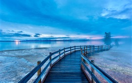 Preview wallpaper Beautiful Yellowstone National Park, lake, bridge, morning, USA