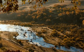 Preview wallpaper Beautiful autumn, trees, river, morning, fog