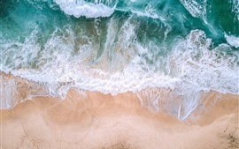 Preview wallpaper Beautiful beach, sea, waves, foam, top view