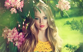 Preview wallpaper Beautiful blonde girl, blue eyes, pink flowers