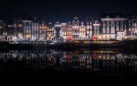 Preview wallpaper Beautiful city night, Amsterdam, Netherlands, houses, river, starry