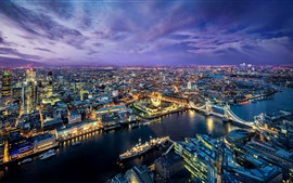 Preview wallpaper Beautiful city night, London, river, bridge, lights, purple clouds, UK