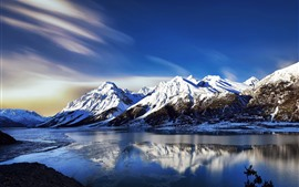 Preview wallpaper Beautiful nature landscape, mountains, snow, winter, river
