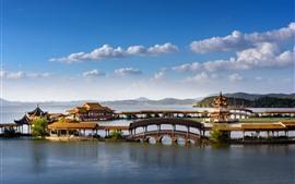 Belo parque, Tongyi Jiayuan, lago, Wuxi, China
