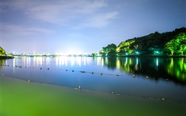 Preview wallpaper Beautiful park at night, Hangzhou West Lake, China