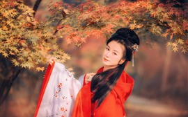 Vorschau des Hintergrundbilder Chinesisches Mädchen des schönen Retrostils, rote Ahornblätter, Herbst