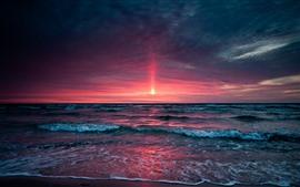 Hermosa puesta de sol, mar, nubes, cielo, olas, espuma