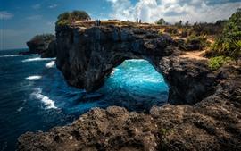 壁紙のプレビュー 美しい旅行場所、ヌサペニダ、青い海、アーチ
