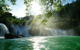 Beautiful waterfall, sun rays, lake, twigs