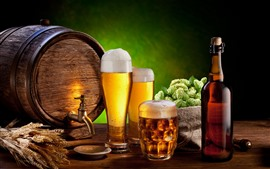 Preview wallpaper Beer, foam, glass cups, barrel, bottle, hops, wheat