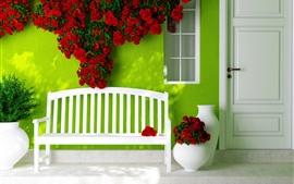 Banco, pared verde, rosas rojas, casa, puerta.
