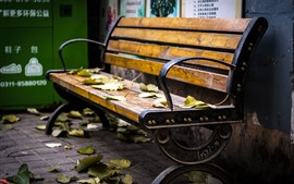 Preview wallpaper Bench, leaves