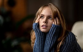 Preview wallpaper Blonde girl, sweater, hands, look