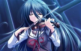 Blue hair anime girl, play violin