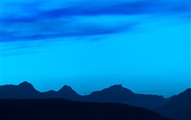 Blue sky, mountains, nature landscape, night